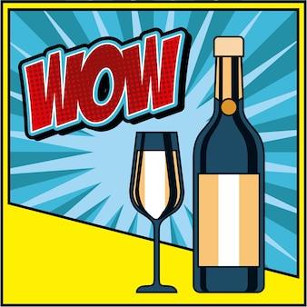 Bouteille champagne et verre célébration wow pop art