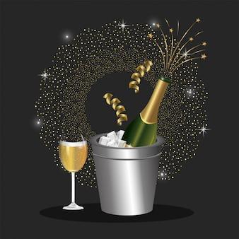 Bouteille de chapagne avec verre pour fêter les vacances