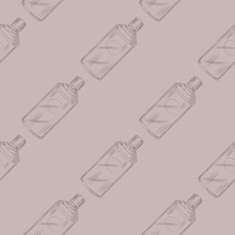 Bouteille chinoise rétro modèle sans couture sur fond beige. modèle de texture géométrique pour menu restaurant. illustration vectorielle de conception.