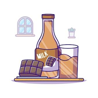Bouteille de chocolat et de lait pour l'illustration de dessin animé de la journée mondiale du lait