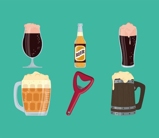 Bouteille et chope de bières