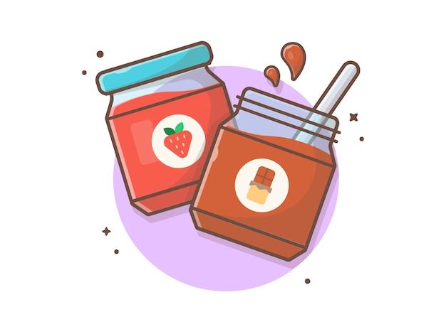 Bouteille de confiture de fraises et de chocolat