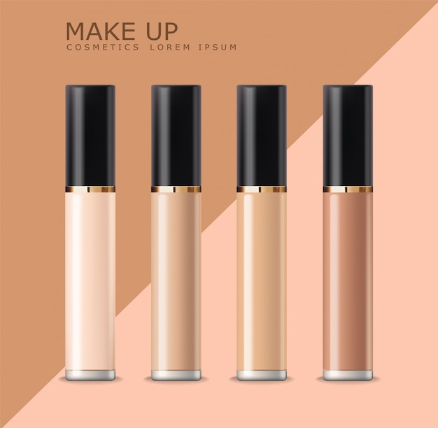Bouteille de correcteur réaliste, cosmétiques de maquillage, correcteur de correction de la peau du visage, ensemble isolé de maquette d'emballage, illustration