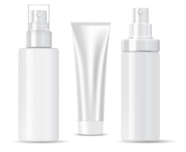 Bouteille cosmétique blanche. shampooing, produit en spray.