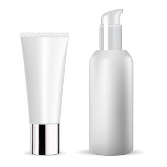 Bouteille cosmétique blanche. tube de crème. modèle de paquet de sérum cosmétique vierge. conception d'emballage de dentifrice. flacon de pommade pour le corps. distributeur d'essence hydratante pour le visage