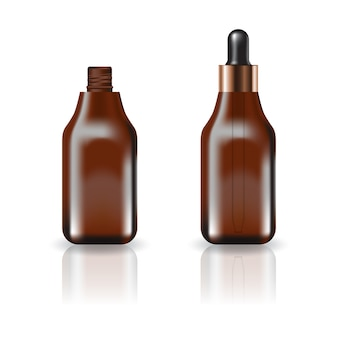 Bouteille cosmétique brune carrée avec couvercle compte-gouttes.