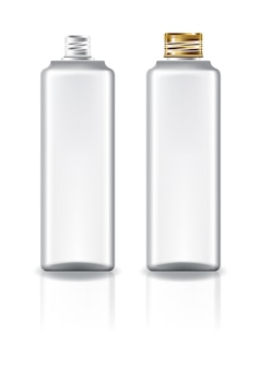 Bouteille cosmétique carrée blanche avec couvercle à vis en or pour beauté ou produit santé.