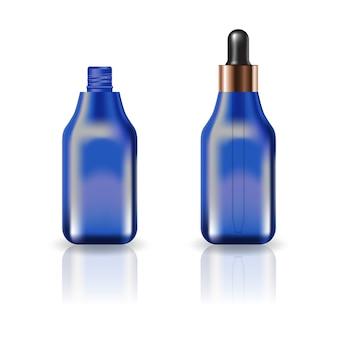 Bouteille cosmétique carrée bleue vide avec couvercle compte-gouttes.