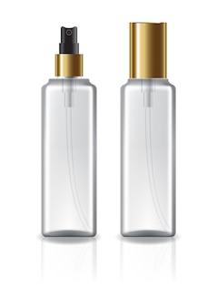 Bouteille cosmétique carrée transparente avec couvercle et tête de pulvérisation en or, pour beauté ou produit santé.