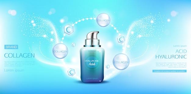 Bouteille cosmétique de collagène d'acide hyaluronique