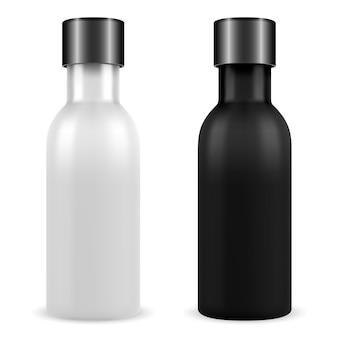 Bouteille cosmétique huile essentielle noire, ensemble blanc. 3d