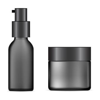 Bouteille cosmétique noire, pot de crème. bouteille d'essence de sérum avec distributeur de souteneur