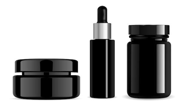 Bouteille cosmétique noire, pot de crème, compte-gouttes de sérum, bouteille de pilules