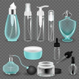 Bouteille cosmétique vide réaliste et récipients transparents avec jeu de capuchons. tube de maquette d'emballage cosmétique, spray, bouteilles avec pompe à pression. stockage en verre et en plastique du vecteur de fournitures de soins de beauté