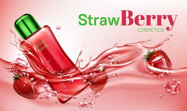Bouteille de cosmétiques aux fraises flottant dans l'eau
