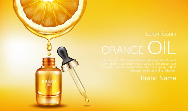 Bouteille de cosmétiques huile orange avec bannière pipette