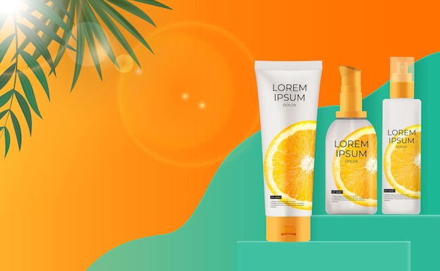 Bouteille de crème de protection solaire 3d réaliste avec des feuilles de palmier et orange
