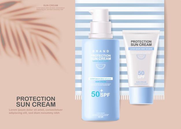Bouteille de crème solaire 3d réaliste isolé, bannière tropicale, crème solaire de protection, cosmétiques d'été spf 50