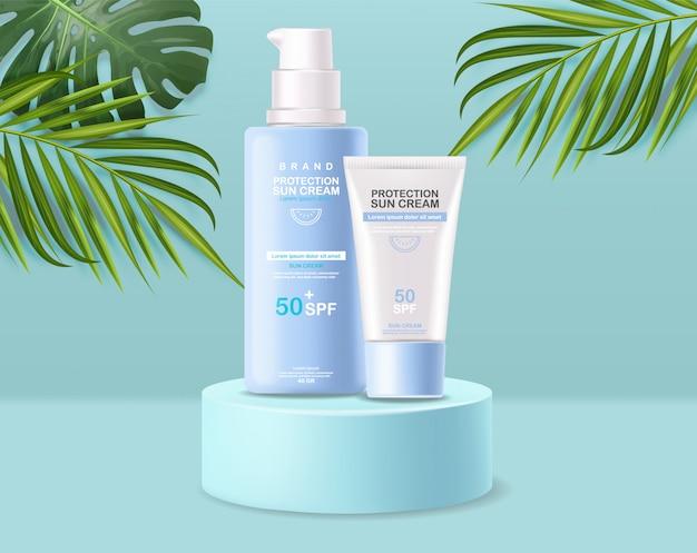 Bouteille de crème solaire 3d réaliste isolé, bannière tropicale, crème solaire de protection, illustration de cosmétiques d'été spf 50