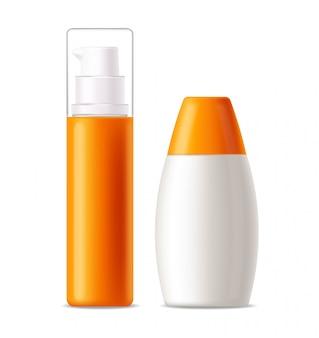 Bouteille de crème solaire 3d réaliste isolé, bannière tropicale, emballage, crème solaire de protection, illustration de cosmétiques d'été spf 50