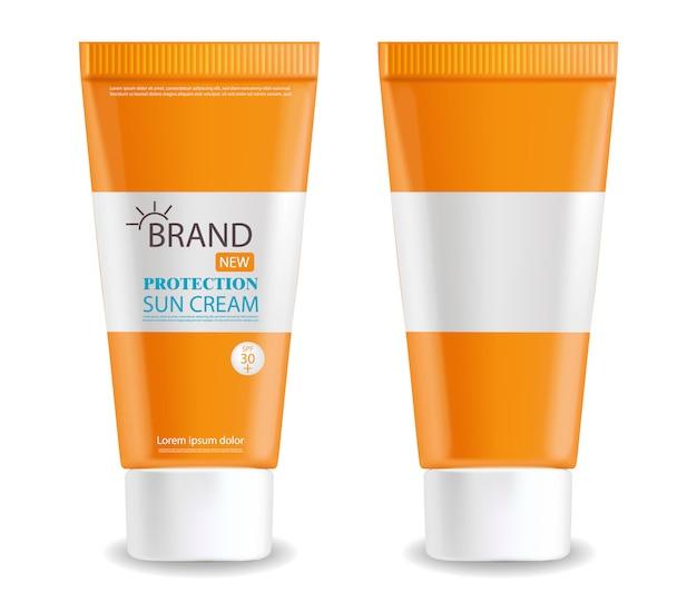 Bouteille de crème solaire réaliste isolé, fond blanc, emballage, crème solaire de protection, cosmétiques d'été
