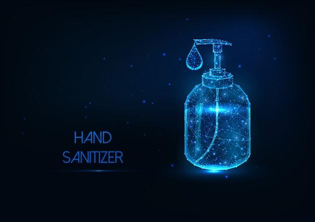 Bouteille désinfectante futuriste pour les mains avec une goutte de liquide de gel d'alcool sur fond bleu foncé.