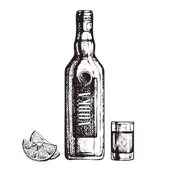 Bouteille dessinée à la main de verre à liqueur de vodka et de tranches de citron croquis illustration de style