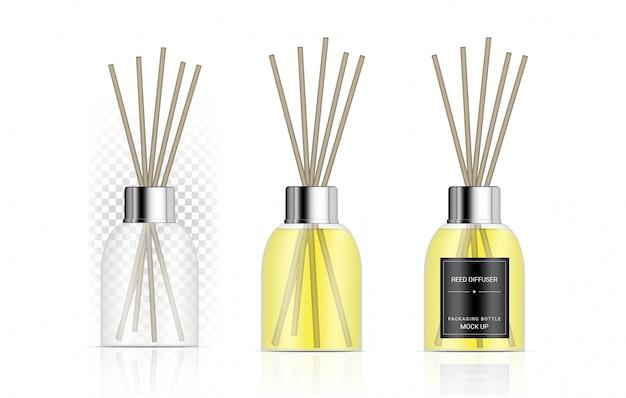 Bouteille de diffuseur de roseau transparent brillant avec publicité de marque de produit d'huile de parfum. détendez-vous l'illustration de fond de marchandise. conception de concept de soins de santé et de thérapie.