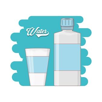 Bouteille d'eau et verre icône vector illustration design