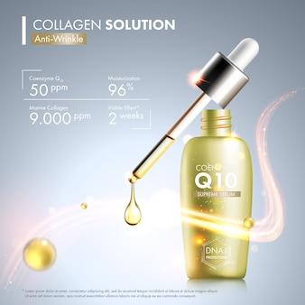 Bouteille d'essence de sérum coenzyme q10