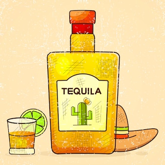 Bouteille fantaisie de tequila avec verre à liqueur et chapeau mexicain