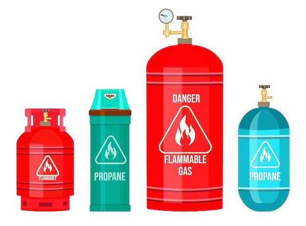 Bouteille de gaz, ballon avec gaz, propane, réservoir d'essence