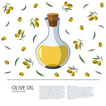 Une bouteille d'huile d'olive sur un fond blanc.