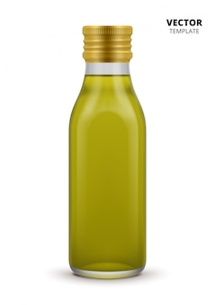 Bouteille d'huile d'olive isolée