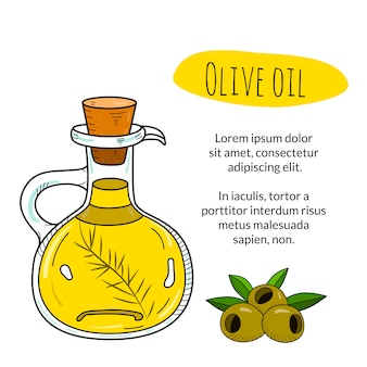 Bouteille d'huile d'olive avec titre d'échantillon et modèle de texte
