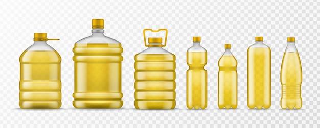 Bouteille d'huile végétale. différentes bouteilles en plastique d'emballage avec de l'huile organique jaune, des aliments sains à base d'ingrédients liquides naturels, des maquettes vectorielles réalistes