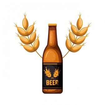 Bouteille d'icône isolé de blé et de blé