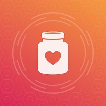 Bouteille d'icône de vecteur de pilules