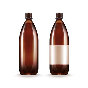 Bouteille de kvass de bière en plastique brun blanc vierge