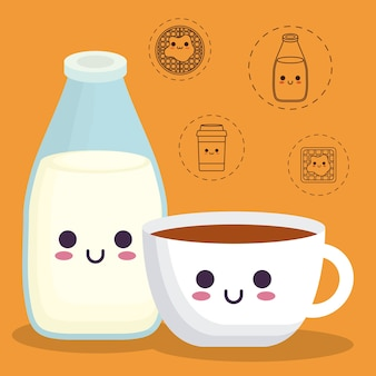 Bouteille de lait et tasse de café avec des icônes liées à la nourriture de petit déjeuner
