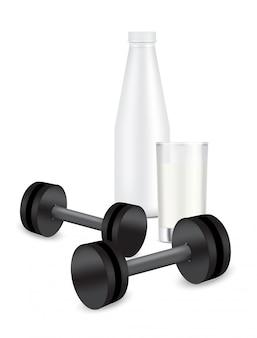 Bouteille de lait avec verre. shaker et haltère en plastique réaliste 3d