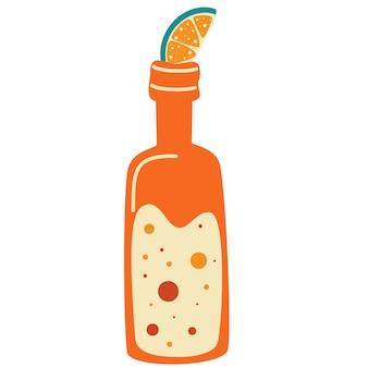 Bouteille de limonade et une tranche de citron. illustration vectorielle de cocktails dessinés à la main. modèle de conception d'étiquettes. limonade fraîche en bouteilles. modèle de conception d'étiquettes. illustration de dessin animé de vecteur plat