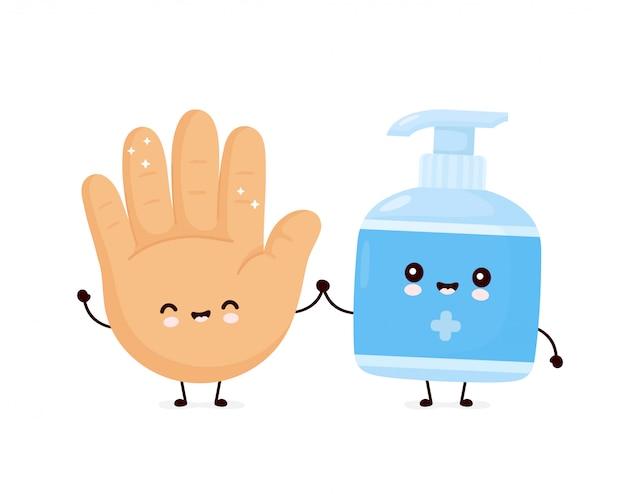 Bouteille et main antiseptique souriant heureux mignon.