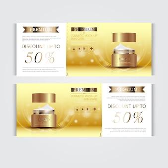 Bouteille de masque crème argent et or isolée sur fond de particules de paillettes bannière cosmétique gracieuse