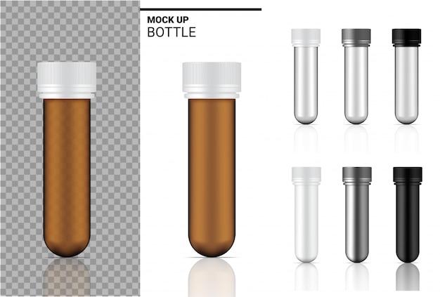 Bouteille de médecine maquette emballage réaliste. pour les produits alimentaires et de soins de santé sur fond blanc.