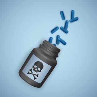 Bouteille noire avec des pilules toxiques, une bouteille représente un crâne avec des os croisés