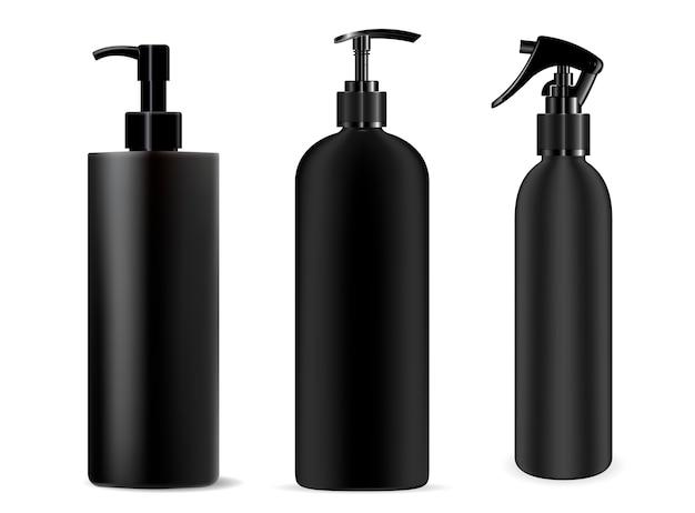 Bouteille noire spray. distributeur cosmétique