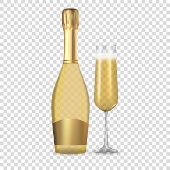 Bouteille d'or de champagne 3d réaliste et icône de verre isolé