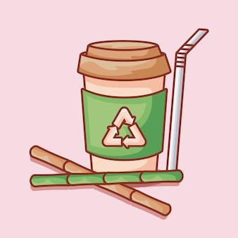 Bouteille de paille et set de bambou
