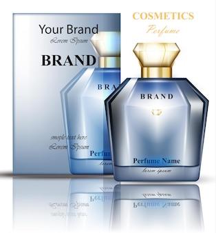 Bouteille de parfum avec parfum de fleurs bleues délicates